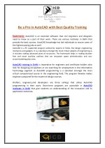 Be a Pro in AutoCAD with Best Quality Training