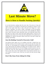 Last Minute Move? Here is How to Handle Packing Quickly!