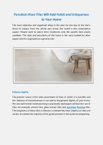 Porcelain Floor Tiles Will Add Polish and Uniqueness to Your Home
