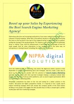 Boost up your Sales by Experiencing the Best Search Engine Marketing Agency!