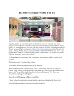 Interior Designs Write For Us