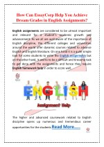 How Can EssayCorp Help You Achieve Dream Grades in English Assignments?