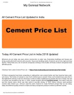 Today All Cement Price List in India 2018 Updated