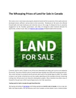 The Whooping Prices of Land for Sale in Canada