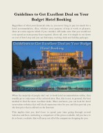 Guidelines to Get Excellent Deal on Your Budget Hotel Booking