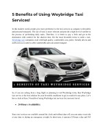 Advantages Of Using Weybridge Taxi Services