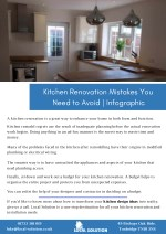 Kitchen renovation mistakes you need to avoid infographics