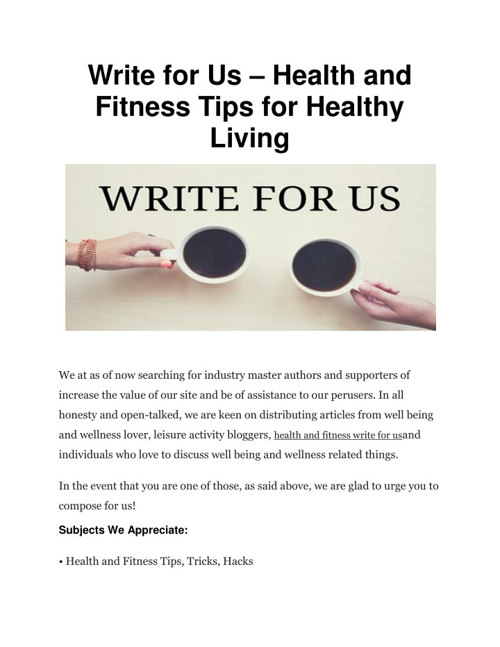 PPT - Write for Us – Health and Fitness Tips for Healthy Living