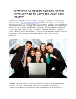 Continental Computers Releases Funeral Home Software to Serve the Death Care Industry
