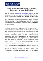 Latest Haryana Government Jobs 2018: Upcoming Haryana Notification