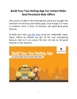 Build Your Taxi Hailing App For Instant Rides And Persistent Ride Offers
