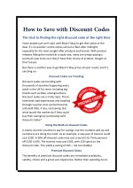 How to Save with Discount Codes