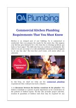 Commercial Kitchen Plumbing Requirements That You Must Know