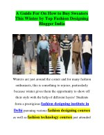 A Guide For On How to Buy Sweaters This Winter by Top Fashion Designing Blogger India