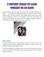 5 EXPERT IDEAS TO LOSE WEIGHT IN 30 DAYS