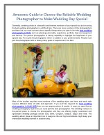 Awesome Guide to Choose the Reliable Wedding Photographer to Make Wedding Day Special