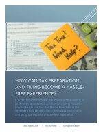 How Can Tax Preparation and Filing Become a Hassle-free Experience?