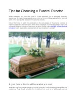 Tips for choosing a Funeral Director