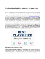 The Best Classified Sites in Canada to Select From