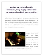 Manhattan cocktail parties Musicians, very highly skilled and experienced cocktail hour musician