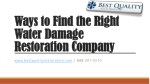 Ways to Find the Right Water Damage Restoration Company
