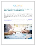 Hire a Best Outsource Bookkeeping Services For Small Business – Finsmart Solutions
