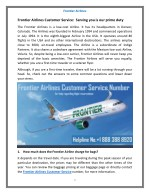 Frontier Airlines Customer Service- Find All Services of Frontier Airlines