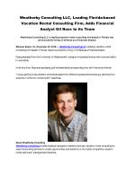 Weatherby Consulting LLC, Leading Florida-based Vacation Rental Consulting Firm, Adds Financial Analyst Gil Nuss to its