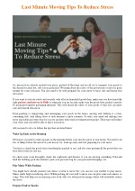 Last Minute Moving Tips To Reduce Stress