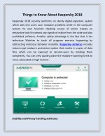 Things to Know About Kaspersky 2018