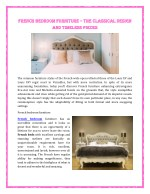 French bedroom Furniture – The classical design and timeless pieces