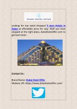 Top Rated 5 Stars Hotels in Dubai at Cheapest Price to Halt