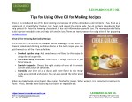 Tips For Using Olive Oil For Making Recipes