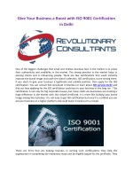 Give Your Business a Boost with ISO 9001 Certification in Delhi
