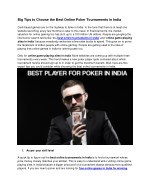 Best Tips to Choose the Best Online Poker Tournaments in India