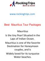 Best Mauritius Tour Packages by Rocking Trips