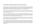 The Benefits Of Booking Flights Online Through Coupons