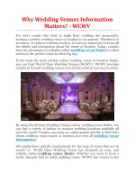 Why Wedding Venues Information Matters? - WCWV
