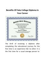 Benefits Of Fake College Diploma In Your Career