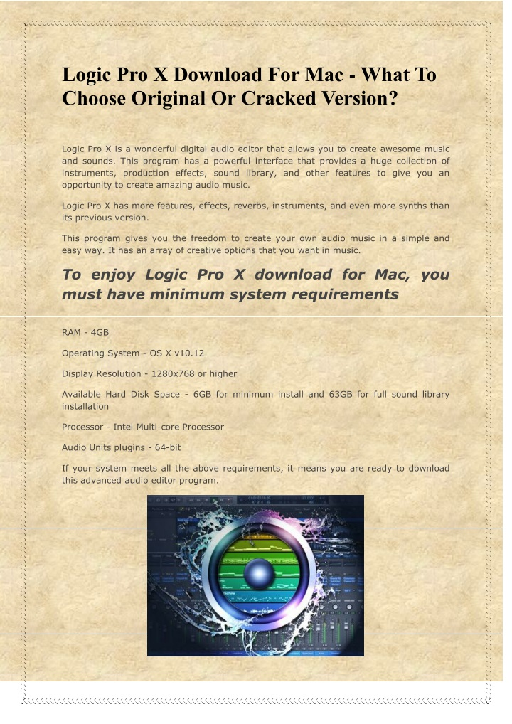 PPT - Logic Pro X Download For Mac - What To Choose Original Or
