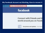 My Facebook Account not Working, How to recover it