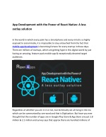 App Development with the Power of React Native: A Less Outlay Solution