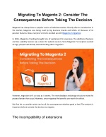 Migrating To Magento 2- Considering The Consequences Before Taking The Decision
