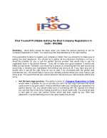 Find Yourself Profitable Getting the Best Company Registration in Delhi – IPSOMS