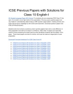 ICSE Previous Papers with Solutions for Class 10 English-I
