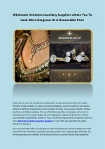 Wholesale Imitation Jewellery Suppliers Attain You To Look More Gorgeous At A Reasonable Price