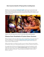 Most Important Benefits of Playing Online Gambling Game