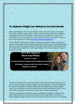 Try Hypnosis Weight Loss Method to Get Good Results
