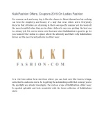 KalkiFashion Offers, Coupons 2019→ Upto 60% OFF On Ladies Fashion